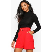 Womens Gold O Ring Pocket Side Shorts - red - 12, Red