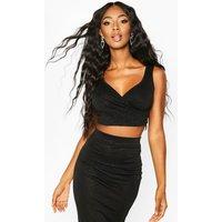 Womens Glitter Wrap Sleeveless Crop Top - black - 12, Black