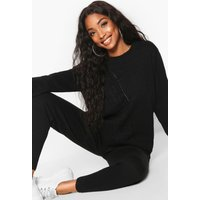 Womens Cable Knit Lounge Set - black - S, Black