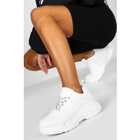 Womens Contrast Lace Chunky Platform Trainers - white - 8, White
