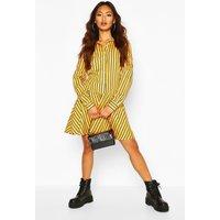 Womens Stripe Button Through Frill Hem Shirt Dress - Yellow - 14, Yellow