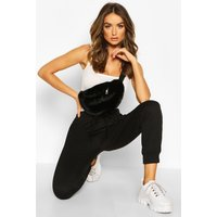 Womens Faux Fur Bum Bag - black - One Size, Black