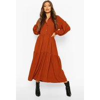 Womens Oversized Tiered Maxi Shirt Dress - orange - 10, Orange