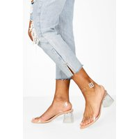 Womens Low Clear Barely There Heels - Beige - 6, Beige