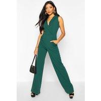 Womens Tailored Wide Leg Jumpsuit - green - 12, Green