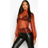 Womens Spot Mesh High Neck Blouse - orange - 14, Orange