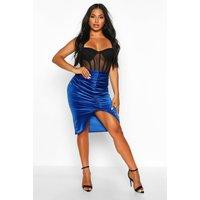 Womens Ruched Front Velvet Midi Skirt - blue - 10, Blue