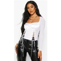 Womens Satin Lace Up Corset Detail Top - white - L, White