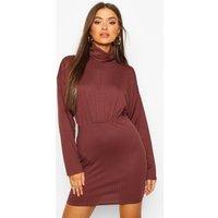 Womens Jumbo Rib Roll Neck Mini Dress - brown - 6, Brown