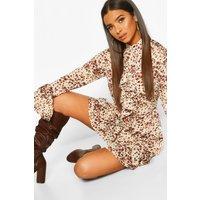 Animal Print High Neck Ruffle Swing Dress - brown - 10, Brown