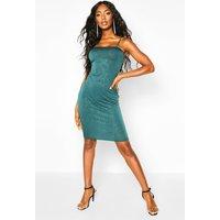 Womens Glitter Square Neck Cami Midi Dress - green - 12, Green