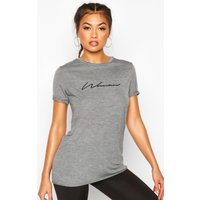 Womens Fit Woman Slogan Gym T-shirt - grey - 6, Grey