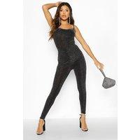 Womens Metallic Sparkle Ruched Bum Leggings - black - 12, Black