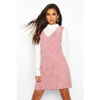 Womens Cord V-Neck Double Pocket Pinny - Pink - 16, Pink