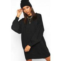 Womens Gathered Drop Shoulder Sweat Dress - black - 14, Black