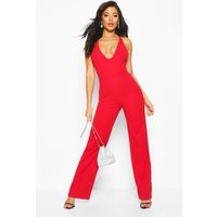 Womens Double Strap Detail Wide Leg Jumpsuit - red - 8, Red