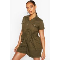 Womens Utility Pocket Woven Playsuit - green - 16, Green