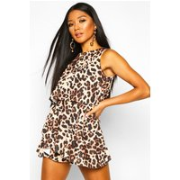 Womens Leopard Double Layer Playsuit Dress - brown - 8, Brown
