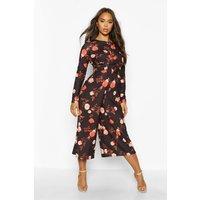Womens Wrap Front Floral Culotte Jumpsuit - black - 14, Black