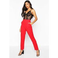 Womens Pocket Tapered Crepe Trouser - 12, Red