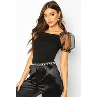 Womens Crepe Square Neck Organza Sleeve Top - black - 6, Black