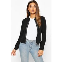 Womens Zip Through Bomber Jacket - black - 14, Black