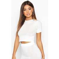 Womens Ribbed Crop Tee - white - 14, White