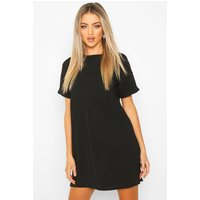 Womens Ribbed Smock Dress - black - 12, Black
