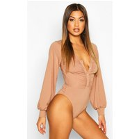 Womens Ribbed Popper Ruched Long Sleeve Bodysuit - beige - 12, Beige