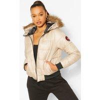 Womens Hooded Faux Fur Trim Puffer - beige - 10, Beige