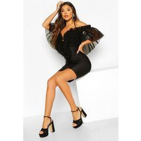 Womens Organza Mesh Bodycon Dress - black - 6, Black