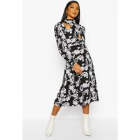 Womens Floral Print Blouson Sleeve Midi Skater Dress - black - 12, Black