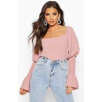 Womens Shirred Sleeve Ruffle Peasant Top - pink - 14, Pink