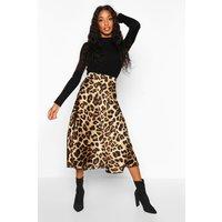 Womens Leopard Satin Full Midi Skirt - multi - 16, Multi