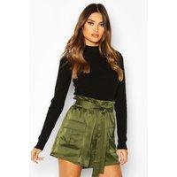 Womens Satin Utility Tie Waist Shorts - green - 16, Green