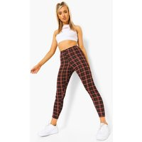 Womens Tartan Check Basic Jersey Leggings - black - 10, Black