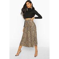 Womens Leopard Plisse Midi Skater Skirt - multi - 10, Multi