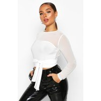 Womens Belted Mesh Sleeve Crop - white - 12, White