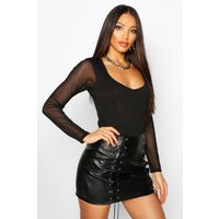 Womens Mesh Sleeve Square Neck Corset Detail Body - black - 10, Black