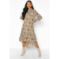 Womens Woven Leopard High Neck Midaxi Dress - brown - 10, Brown