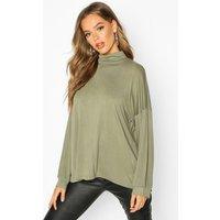 Womens High Neck Oversized Top - green - 8, Green