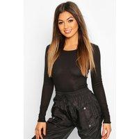 Womens Rib Knit Crew Neck Long Sleeve Bodysuit - black - 8, Black