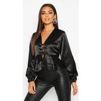 Womens Satin Tie Front Peplum Blouse - black - 12, Black