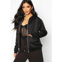 Womens Zip Pocket Detail Bomber Jacket - black - 10, Black