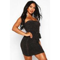 Womens Glitter Shimmer Bandeau Belted Bodycon Mini Dress - metallics - 8, Metallics