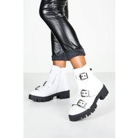 Womens Buckle Trim Cleated Hiker Boots - white - 5, White