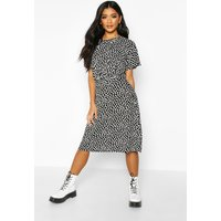 Womens Dalmation Curved Waist Skater Dress - black - 12, Black