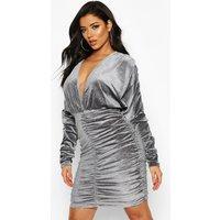 Womens Sparkle Velvet Knot Front Rouche Dress - grey - 12, Grey