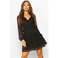 Womens Button Ruffle Skater Dress - black - 12, Black