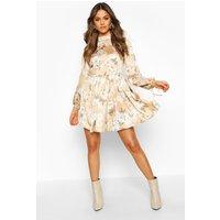 Womens Satin Floral Print Frill Hem Skater Dress - Beige - 12, Beige